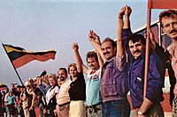 The human chain in Lithuania during the Baltic Way, 23 August 1989
