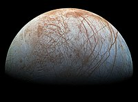 Jupiter's moon Europa may have an underground ocean which supports life.