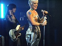 Pink at a secret London performance to promote the Funhouse album, on November 4, 2008