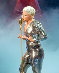 Pink performing in New York City in April 2018