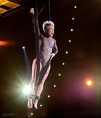 Pink performing at the Grammys in 2014