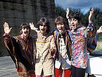 """The Beatles filming a segment for their psychedelic song """"I Am the Walrus"""" (1967)"""