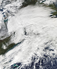 alt=The 2011 October nor'easter is seen via satellite.|The 2011 October nor'easter caused major snow damage in the state.