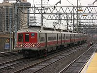 A Metro-North Railroad New Haven Line train leaving Stamford Station