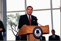 alt=John G. Rowland is seen giving a speech.|Governor John G. Rowland resigned from office for corruption in 2004.
