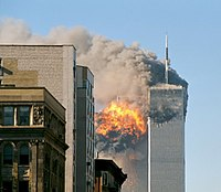 alt=The twin towers are seen damaged during 9/11|9/11 killed 65 people from Connecticut.