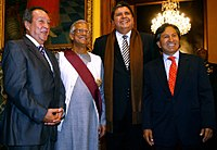 Bangladeshi economist and Nobel Peace Prize Laureate Muhammad Yunus with the former presidents of Peru