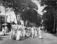 Female students march in defiance of the Section 144 prohibition on assembly during the Bengali Language Movement in early 1953