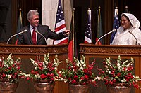 PM Sheikh Hasina with US President Bill Clinton at the Prime Minister's Office in Dhaka, 2000.