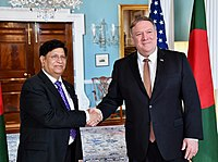 US Secretary of State Mike Pompeo with Bangladeshi Foreign Minister AK Abdul Momen in Washington, D.C., 2019