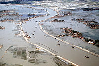 Flooding after the 1991 Bangladesh cyclone, which killed around 140,000 people.
