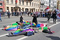 """A public demonstration, """"Chechen mothers mourn their children"""", was staged on 1 May 2017 on Nevsky Prospect in Saint Petersburg, to protest the persecution of gay men in Chechnya."""