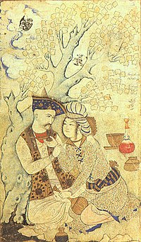 Shah Abbas of Iran with a page (1627), Persian miniature by Muhammad Qasim in the Louvre Museum; European travellers who had visited Iran during the reign of Shah Abbas have spoken of his strong desire for charming young pages and cup-bearers.