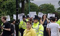 Islamic anti-LGBT protesters at an LGBT Pride march in Nottingham, England