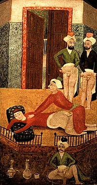 Ottoman illustration depicting a young man used for group sex (from Sawaqub al-Manaquib), 19th century