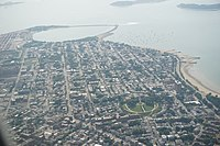 The peninsula of South Boston, featuring Castle Island and Dorchester Heights, as view from the air
