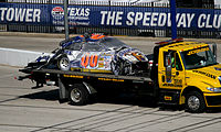 McDowell's car on the tow truck after the crash