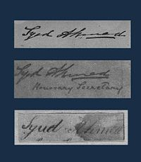 Signatures of Sir Syed