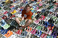 """Joshua Mueller, Guinness Book of World Records holder for largest collection of """"Chucks"""". photographed in 2006"""