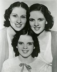 The Gumm Sisters, also known as the Garland Sisters, c. 1935: Top row: Mary Jane and Dorothy Virginia Gumm; bottom: Frances Ethel (Judy Garland) Gumm