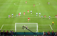 Beckham scoring a penalty against Argentina at the 2002 World Cup