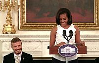Beckham with United States First Lady Michelle Obama at the White House, March 2012