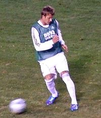 Beckham warming up with Real Madrid in August 2006