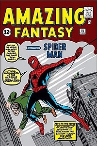 Amazing Fantasy #15 (Aug. 1962) first introduced the character. It was a gateway to commercial success for the superhero and inspired the launch of The Amazing Spider-Man comic book. Cover art by penciller Jack Kirby and inker Steve Ditko