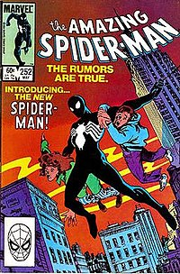 The Amazing Spider-Man #252 (May 1984): The black costume debut that brought controversy to many fans. The suit was later revealed as an alien symbiote and was used in the creation of the villain Venom, cover art by Ron Frenz and Klaus Janson