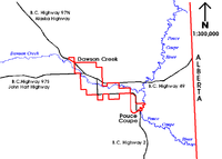 The City of Dawson Creek in relation to the highways and the Dawson Creek watercourse.