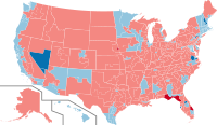 Results of the 2016 elections that were first seated in this Congress. Pale blue are Democratic holds; pale red are Republican holds; bright blue are Democratic gains; bright red are Republican gains.