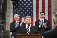 President Donald Trump addressing Congress, with Vice President Mike Pence and House Speaker Paul Ryan.