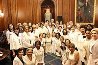 Democratic women in the House of Representatives wearing white to honor women's suffrage. (March 2017)