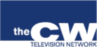 The CW's original pre-launch logo. At the network's first upfront presentation on May 18, 2006, the provisional blue-and-white rectangle logo that was used during the network's formation announcement in January was replaced by a green-and-white, curved-letter insignia that drew comparisons to the logo used by CNN, another company with Time Warner ownership interest.