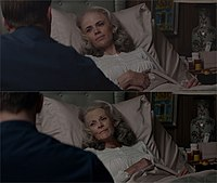 Hayley Atwell as Peggy Carter before (top) and after (bottom) she was digitally altered to appear older in the film