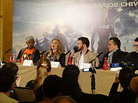 Jackson, Johansson, Evans, and the Russo brothers promoting the film in Paris in March 2014