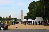 Film set for Captain America: The Winter Soldier on the National Mall