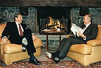 President Ronald Reagan and General Secretary Mikhail Gorbachev, the leaders of the Cold War's rival superpowers, meeting in Geneva, Switzerland in November 1985