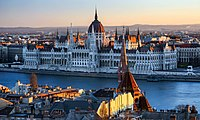 Hungarian Parliament Building on the bank of the Danube in Budapest