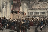 5 July 1848: The opening ceremony of the first parliament, which was based on popular representation. The members of the first responsible government are on the balcony.