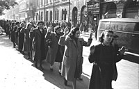 Jewish women being arrested on Wesselényi Street in Budapest during the Holocaust, c.undefined 20–22 October 1944