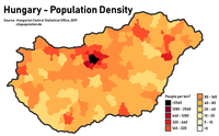 Population density in Hungary by district.