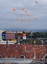 The Hokies released 32 balloons before their 2007 football opener as part of a ceremony in the victims' memory.