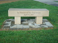 Bench in honor of the survivors of the shooting. It is slightly south of the main memorial.
