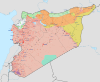 Military situation in the Syrian Civil War as of {{#invoke:Iraq Syria map date|syriadate}}.