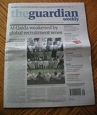 """Front page of The Guardian Weekly on the eighth anniversary of the September 11 attacks. The article claimed that al-Qaeda's activity is """"increasingly dispersed to 'affiliates' or 'franchises' in Yemen and North Africa."""""""