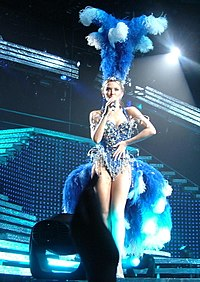 Minogue performing during Showgirl: The Greatest Hits Tour in 2005