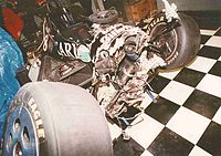 The devastating aftermath of Jeff Andretti's crash in turn 2.