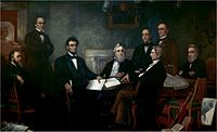 Lincoln met with his Cabinet for the first reading of the Emancipation Proclamation draft on July 22, 1862.