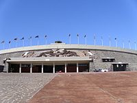 """Estadio Olímpico Universitario, considered the """"most important building in Modern Americas"""" by American architect Frank Lloyd Wright."""